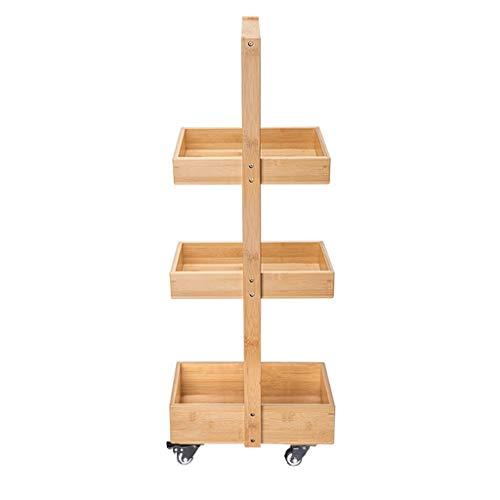 Gabinete del Cuarto de baño, Soporte de Piso de la Sala de Estar del Dormitorio de la Sala de Almacenamiento de los Muebles de Madera de bambú, Estante de Rueda Universal Multifuncional (tamaño : M)