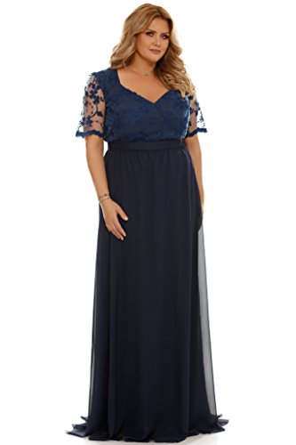 empire abendkleid Miss Grey Plus Size Damen Bestickte Spitze Lange Kleid Elegant Chiffon Abendkleid Blau X-Large