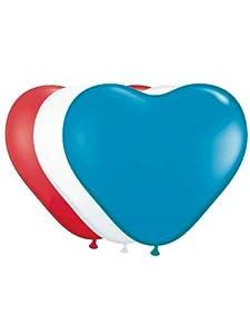 Folat 8Unidades. Globos 30cm corazón Globos Rojo/Blanco/Azul