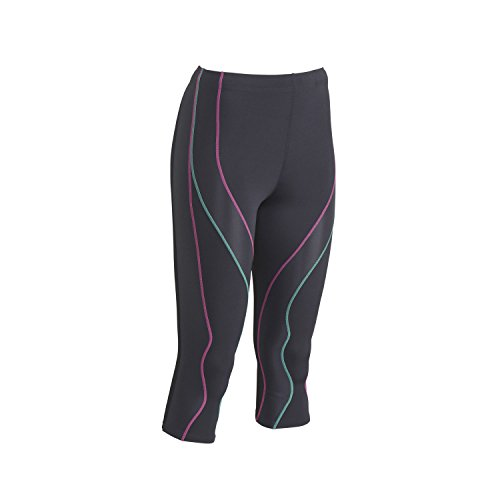 CW-X Stabilyx Damen 3/4Performx Tights, Damen, Grey/Pink/Turquoise, Medium