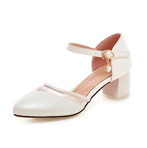 VogueZone009 Femme Pu Cuir à Talon Correct Pointu Couleur Unie Boucle Chaussures Légeres Blanc