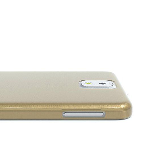 Samsung Galaxy Note 3 Hülle - EAZY CASE Ultra Slim Cover TPU Handyhülle Matt - dünne Schutzhülle aus Silikon in Transparent / Weiß Brushed Gold