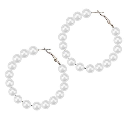 AOTEX Ohrringe Weiblichen Schmuck Chic Pearl Simulierten Perlen Große Kreolen-Ohrring Für Frauen Kreis Loop Hoop Design Mode Exquisite (Perlen Hoop Ohrringe)