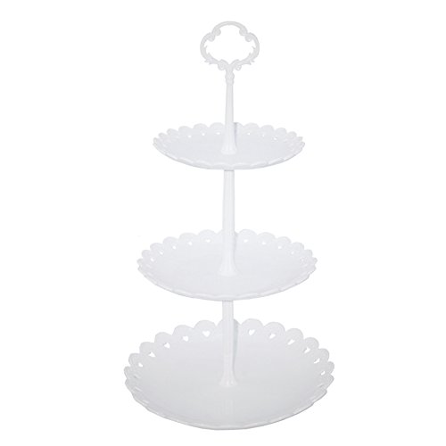 hetoco 3-Tier-weiß Kunststoff Dessert Ständer Gebäck Ständer Kuchen Ständer Cupcake-Ständer Halterung Servierplatte für Party Hochzeit Home Decor weiß (Tier-servierplatte)