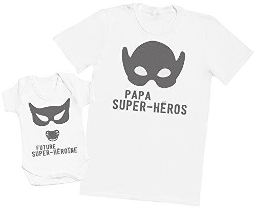 Zarlivia Clothing Future Super-héroïne Papa - Ensemble Père Bébé Cadeau - Hommes T-Shirt & Body bébé - Blanc - M & 6-12 Mois