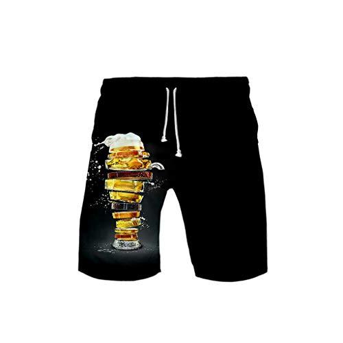 Kostüm Bequeme - Chejarity Oktoberfest Bierfest Kostüm Herren Shorts 3D Gedruckt Biermuster Freizeit Kurze Hosen mit Tasche Locker Bequem Schlafanzughose Strandhose Fitness Training Sporthose (XXL, Schwarz)