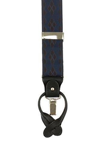 DEGAS 100% cuir véritable/Clips Bretelles, nickel, taille réglable Bleu Marine