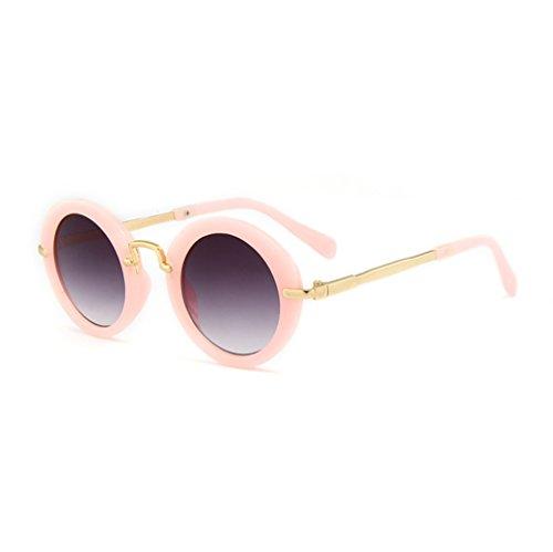 YANJING Neue Runde Rahmen Kinder Sonnenbrille Cross-Country-Mode Kinder Sonnenbrille Metallrahmen...