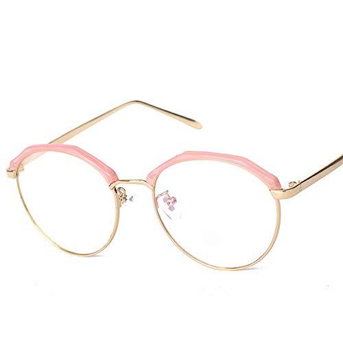 WULE-RYP Polarisierte Sonnenbrille mit UV-Schutz Metallrahmen-Brille Vintage Retro Classic Half Frame Horn umrandete klare Linsengläser. Superleichtes Rahmen-Fischen, das Golf fährt (Farbe : Rosa)