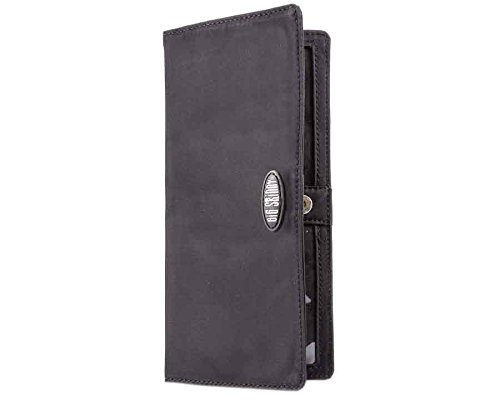 Big Damen Skinny Executive Falttür Checkbook Slim Wallet, für bis zu 40 Karten, Damen, schwarz - Slim-credit Card Womens Wallet