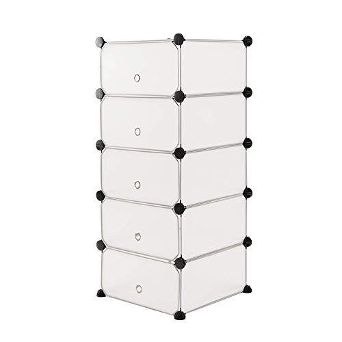 PrimeMatik - Armario Organizador Modular Estanterías de 5 Cubos de 17x35cm plástico Blanco con Puerta