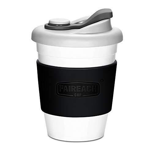 Faireach Tasse à Café Mug Café Écologique Réutilisable, Tasse à Boire à Emporter avec Couvercle Coffee-to-Go Gobelet Café avec Manche Antidérapante en PLA Biodégradable 340ML/12oz Noir