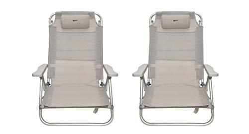 Coppia spiaggine colore grigio ribaltabili | pieghevoli, per mare, giardino, campeggio | 2 pz sedie sdraio da spiaggia richiudibili struttura in alluminio e textilene| dimensioni 48,5x60x83,5(h)cm