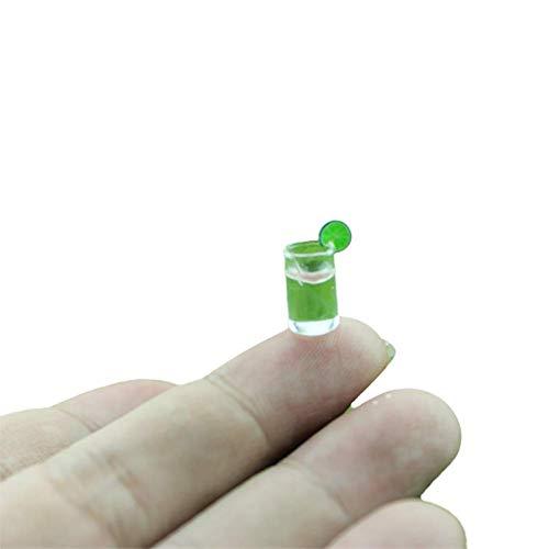 Ogquaton Premium Quality Miniatur Food Game Szene Modell Puppenhaus Zubehör Mini Limonade Glas grün 5 Stück (Miniatur-limonade)