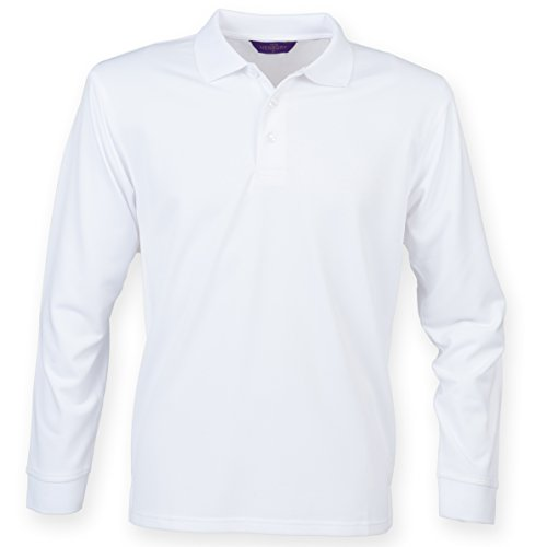 Henbury Men's Long sleeve Coolplus® polo shirt White