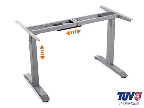 moebel-eins elektrisch höhenverstellbares Schreibtisch-Gestell Office One Tischgestell Memory-Steuerung für alle gängigen Tischplatten mit Softstart/-Stop, grau