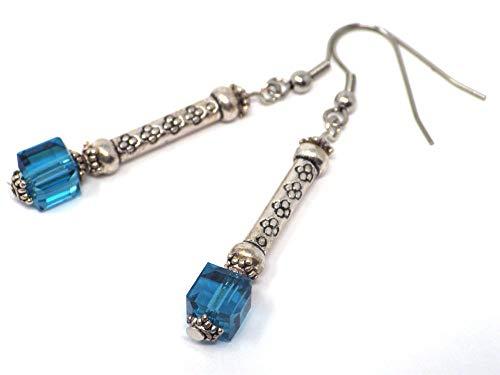 Column Oil Blue Glass und Edelstahl Ohrringe