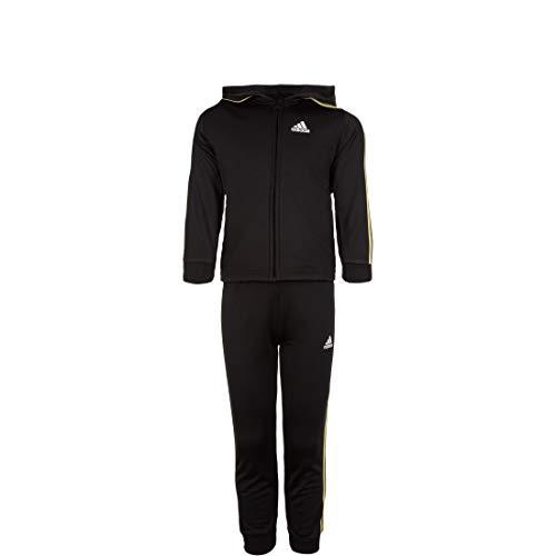 adidas Kinder Shiny Jogginganzug mit Kapuze Trainingsanzug, Black/Goldmt, 104
