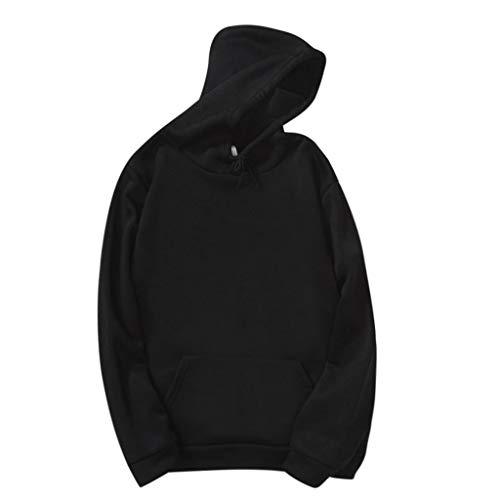 Linkay Damen Kapuzenpullover Pulli Sweatshirts Hoodie Sport Blumen Langarm Jacke Sweatjacke Pullover Outerwear Casual mit Taschen (Schwarz,X-Large)