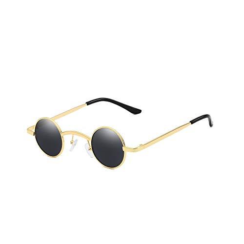 WJFDSGYG Punk-Sonnenbrille Für Herren Wmens Runde Sonnenbrille Kreis Kleine Brille Rot Gelb