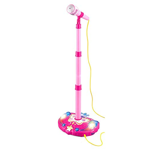 Price comparison product image Kbsin212 Single Microphone with Adjustable Holder With flashing Stage Lighting and Pedals Children Early Education Connect to Mobile phone
