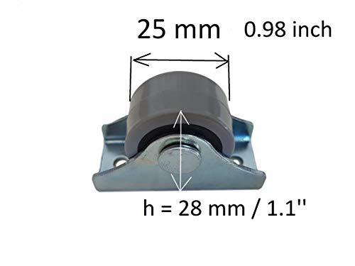 31QFn%2B8rl1L - Rueda de goma de 25 mm de plástico giratoria doble ruedas metálicas con placa muebles electrodomésticos y equipo pequeño mini ruedas Set de 8pcs