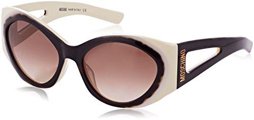 Moschino Damen round eye Sonnenbrille, Braun (Havana/bianco), 57