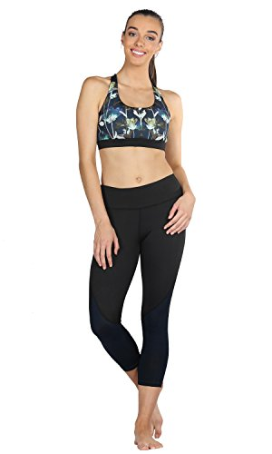 icyZone Damen Yoga Oberteile Sport BH mit Gepolstert Fitness Workout Top Lotus