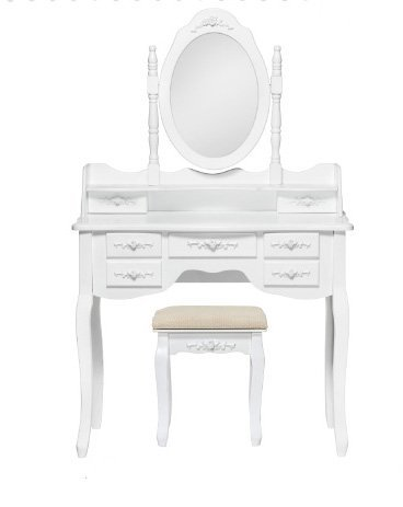 Toilette bianca in legno con sgabello foderato in cotone e specchio stile vintage L'ARTE DI NACCHI GG-54