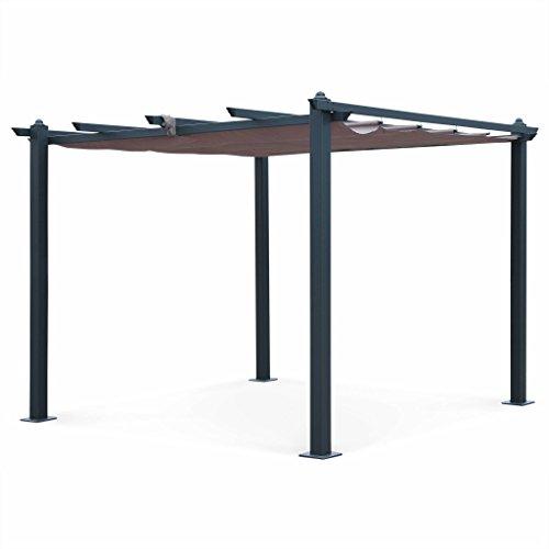 Alice's Garden Pergola Aluminium - Condate 3x3m - Toile Coloris Taupe - Pergola Idéale pour Votre Terrasse, Toit Retractable, Toile coulissante, Structure Aluminium