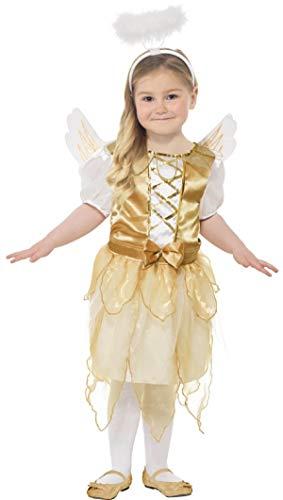 Fancy Me Mädchen Gold Engel Gabriel Weihnachten Fee Geburt Kostüm Kleid Outfit mit Flügeln und Heiligenschein 4-12 Jahre - Gold/weiß, 4-6 Years (Kinder Kostüm Engel Gabriel)