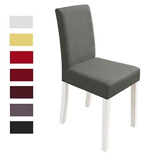 Yokamira coprisedie 4 pezzi elasticizzato copertura della sedia con schienale, lavabile elastica coprisedia sala da pranzo per una misura universale, grigio