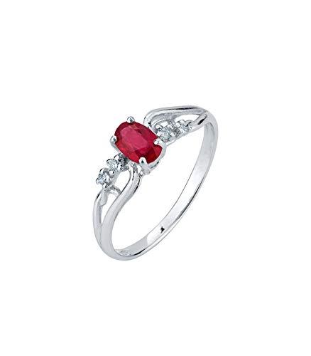 Gioielli di valenza anello in oro bianco 18k con intreccio rubino e diamanti - 14