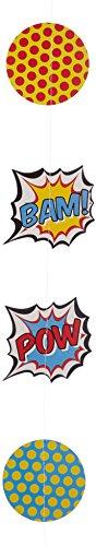 Pop-hintergrund (Ginger Ray Pop Art Superhero Party-Boxen (5Stück), gemischt Hängender Banner im Hintergrund gemischt)