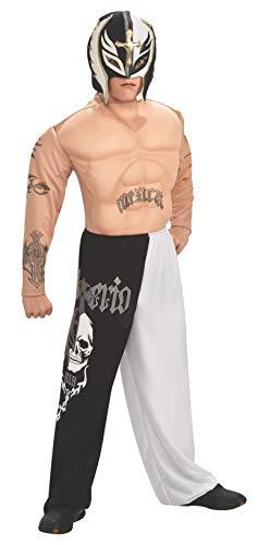Für Wrestler Erwachsene Kostüm - Rubie's Rey Mysterio Deluxe Kostüm - WWE Wrestler. Medium 5-7 Jahre (132cm Höhe) Hemd mit Muskel-Brust und Tattoo, Hose und Maske