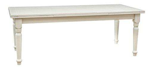 Biscottini Table à rallonge Style champêtre en Tilleul Massif, Finition Blanche Antique L220xPR100xH80 cm
