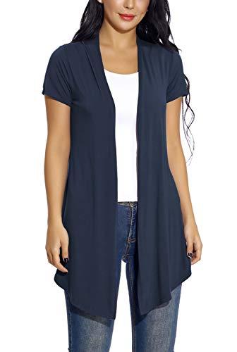 EXCHIC Damen Strickjacke Asymmetrisch Kurze Ärmel Cardigan Wasserfall Jacke (L, Navy blau) (Junioren T-shirts Für Bauch)
