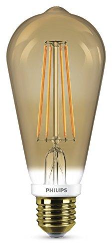Philips Bombilla pera E27 929001228901-Bombilla LED estándar filamento, Casquillo, Consume (Equivalente a 50 W), Regulable, luz Blanca cálida, imita el Efecto incandescente, 7 W