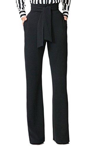 Jumojufol Donna Elegante Alto Vita Dritto Benda Tasche A Gambe Larghe Pantaloni Lunghi Black XS