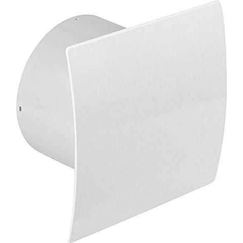 Diámetro de 150 mm Badventilator diseño brillante blanco de punta curva con la humedad sensor higrostato y temporizador y válvula antirretorno WEB150H ventilador pared ventilador baño ventilador de montaje de ventilador baño cocina 15