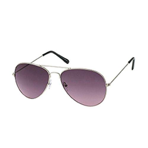 Sonnenbrille Pilotenbrille 400 UV silbern Metallgestell Farbverlauf getönt pink
