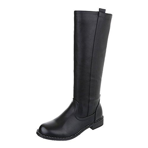 Ital-Design Klassische Stiefel Damen-Schuhe Klassischer Stiefel Blockabsatz Blockabsatz Reißverschluss Stiefel Schwarz, Gr 36, 0-173-