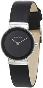 Bering Classic - Reloj analógico de mujer de cuarzo con correa de piel negra - sumergible a 50 metros de Bering