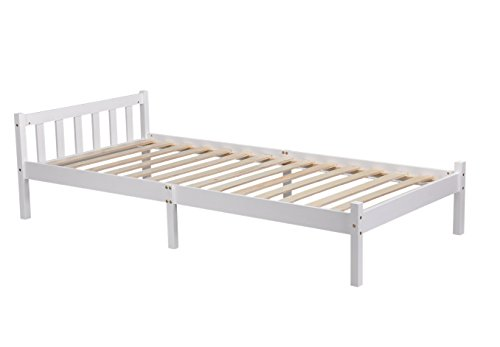 GreenForest Single Bed 3ft Bed Frame Pine Solid Wood Bed White