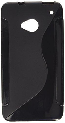 iCues HTC One M7 |  S-Line Black Case Schwarz | [Bildschirm Schutzfolie Inklusive] Silikon Gel Schutzhülle Hülle Cover Schutz