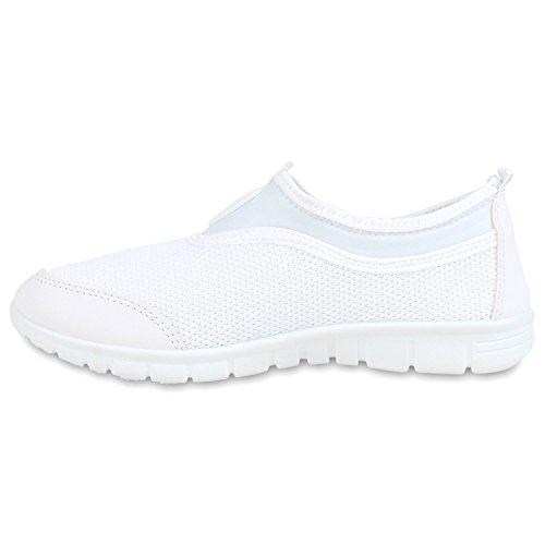Sportliche Damen Sneakers Slipper Bequeme Slip-ons Profilsohle Weiß