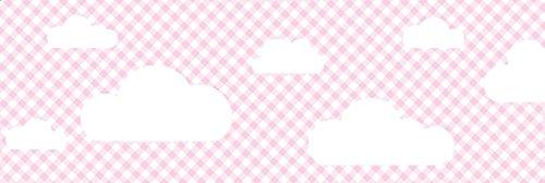 lovely label Bordüre selbstklebend WOLKEN ROSA KARIERT - Wandbordüre Kinderzimmer / Babyzimmer mit Wolken in versch. Farben - Wandtattoo Schlafzimmer Mädchen & Junge, Wanddeko Baby / Kinder