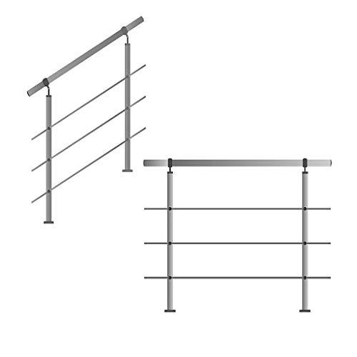 Edelstahl-Handlauf Geländer für Treppen Brüstung Balkon mit/ohne Querstreben (bis 1.5m inkl. 2 Pfosten 3 Querstangen)