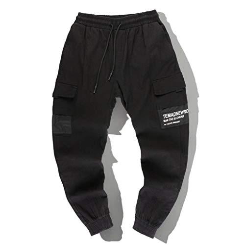 Generic Mens Hose Multi Pocket Drawstring Elastische Taille Hosen FüßE Overalls Jugend Gut Aussehend Streetwear Harajuku Hosen