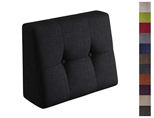 sunnypillow Palettenkissen Palettenauflage Palettenpolster Palettensofa Sitzkissen Rückenlehne gesteppt Seitenkissen 60x40x20/10cm Black -